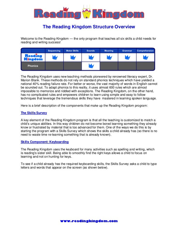 The Reading Kingdom Structure OverviewWelcome to the Reading Kingdom — the only program that teaches all six skills a chil...