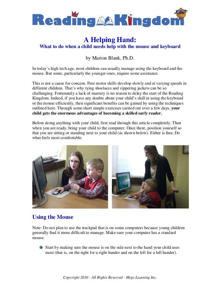 A Helping Hand:    What to do when a child needs help with the mouse and keyboard                               by Marion ...