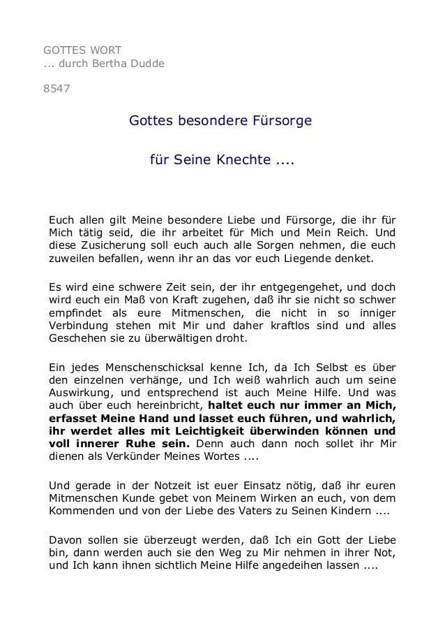 GOTTES WORT ... durch Bertha Dudde 8547 Gottes besondere Fürsorge für Seine Knechte .... Euch allen gilt Meine besondere L...