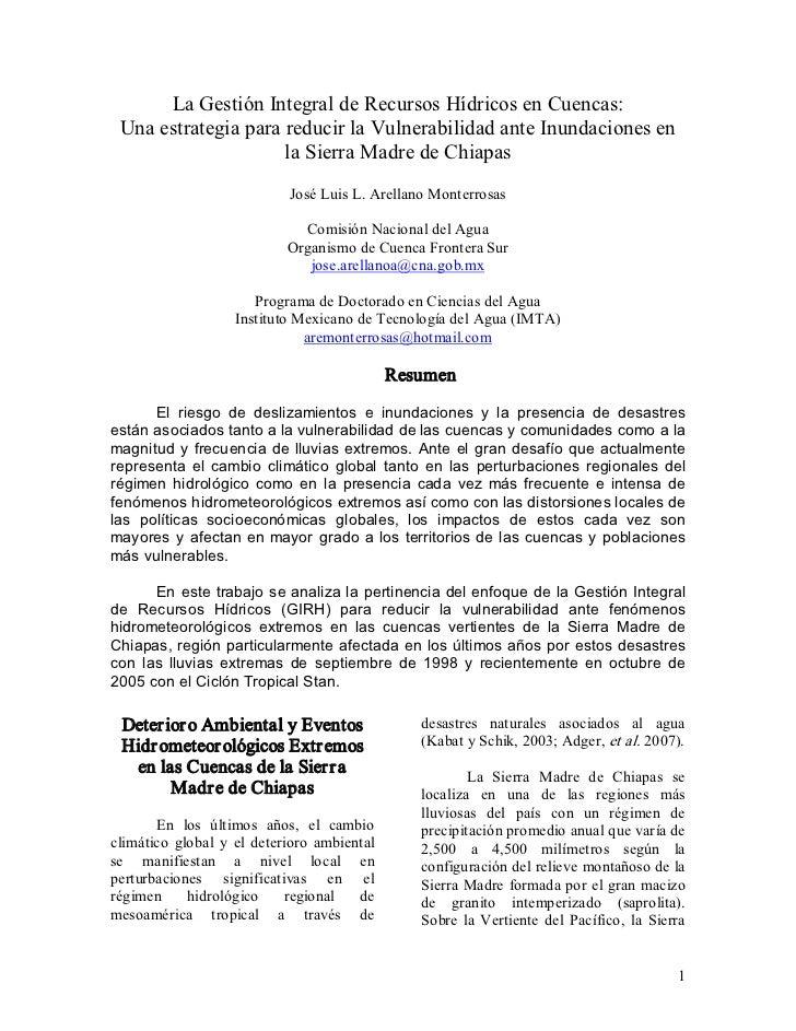 LaGestiónIntegraldeRecursosHídricosenCuencas: UnaestrategiaparareducirlaVulnerabilidadanteInundacionesen ...