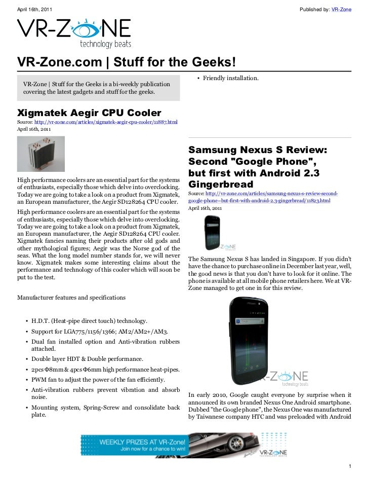 VR-Zone Technology News | Stuff for the Geeks! Issue #21