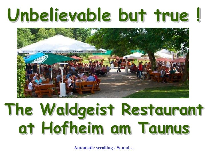 Unbelievable but true !<br />The Waldgeist Restaurant <br />at Hofheim am Taunus<br />Automatic scrolling - Sound…<br />