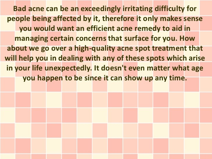 An Appropriate Acne Breakout Cure