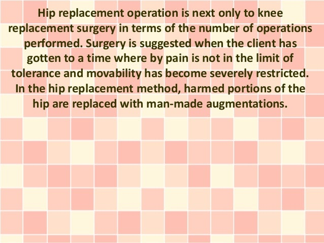 Hip replacement operation is next only to kneereplacement surgery in terms of the number of operations    performed. Surge...