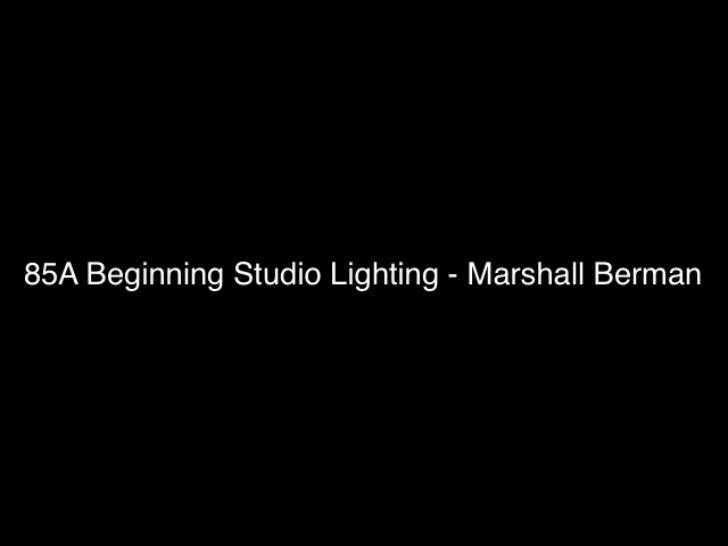 85a Beginning Studio Lighting