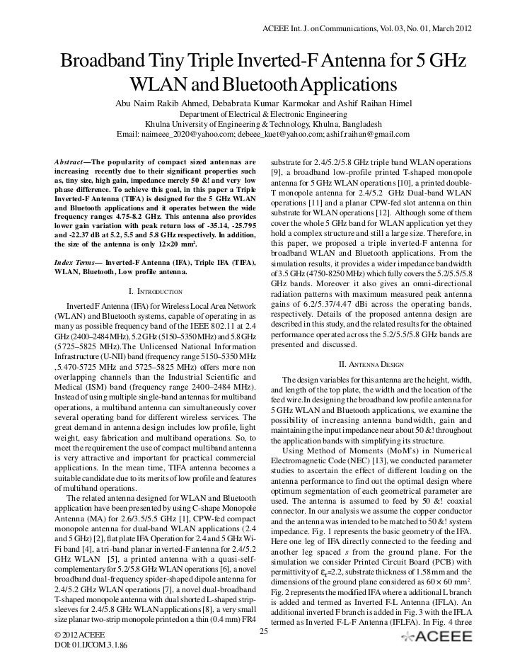 ACEEE Int. J. on Communications, Vol. 03, No. 01, March 2012 Broadband Tiny Triple Inverted-F Antenna for 5 GHz        WLA...