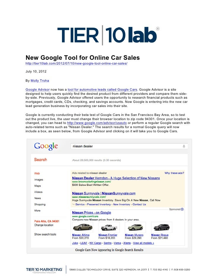New Google Tool for Online Car Sales