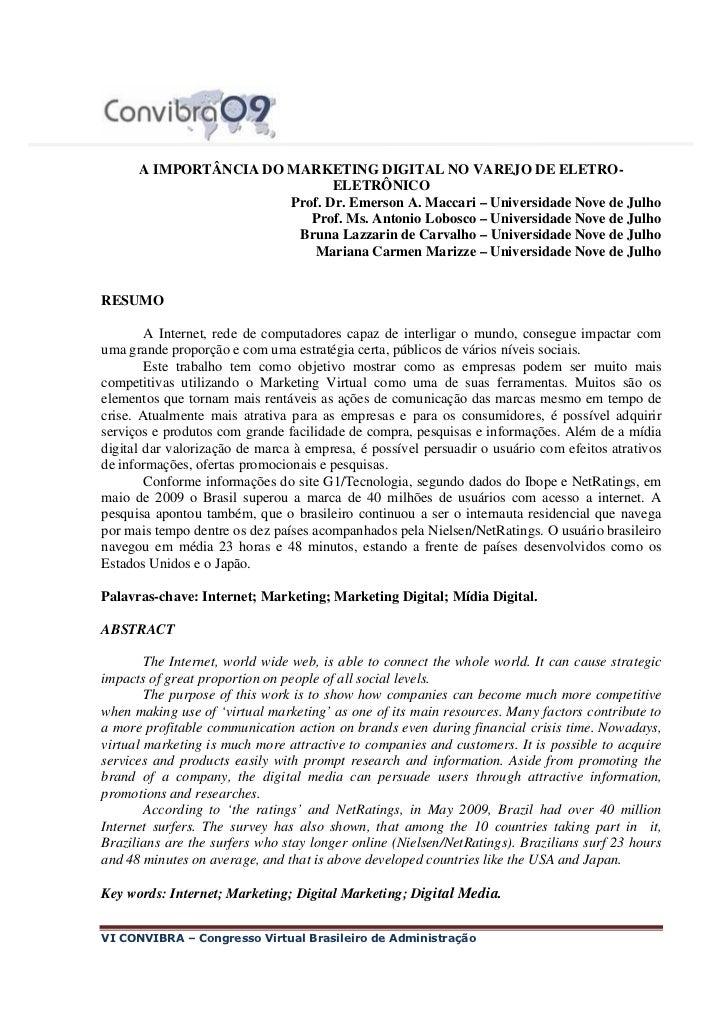 A IMPORTÂNCIA DO MARKETING DIGITAL NO VAREJO DE ELETRO-                              ELETRÔNICO                       Prof...