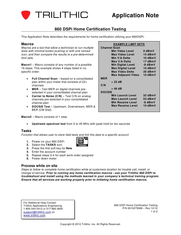 Application Note                            860 DSPi Home Certification TestingThis Application Note describes the require...