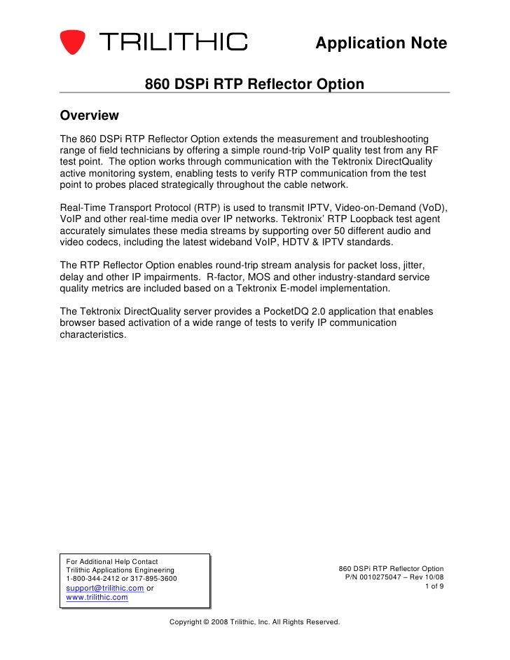 Application Note                         860 DSPi RTP Reflector OptionOverviewThe 860 DSPi RTP Reflector Option extends th...