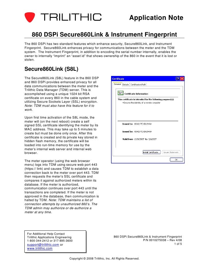 Application Note     860 DSPi Secure860Link & Instrument FingerprintThe 860 DSPi has two standard features which enhance s...