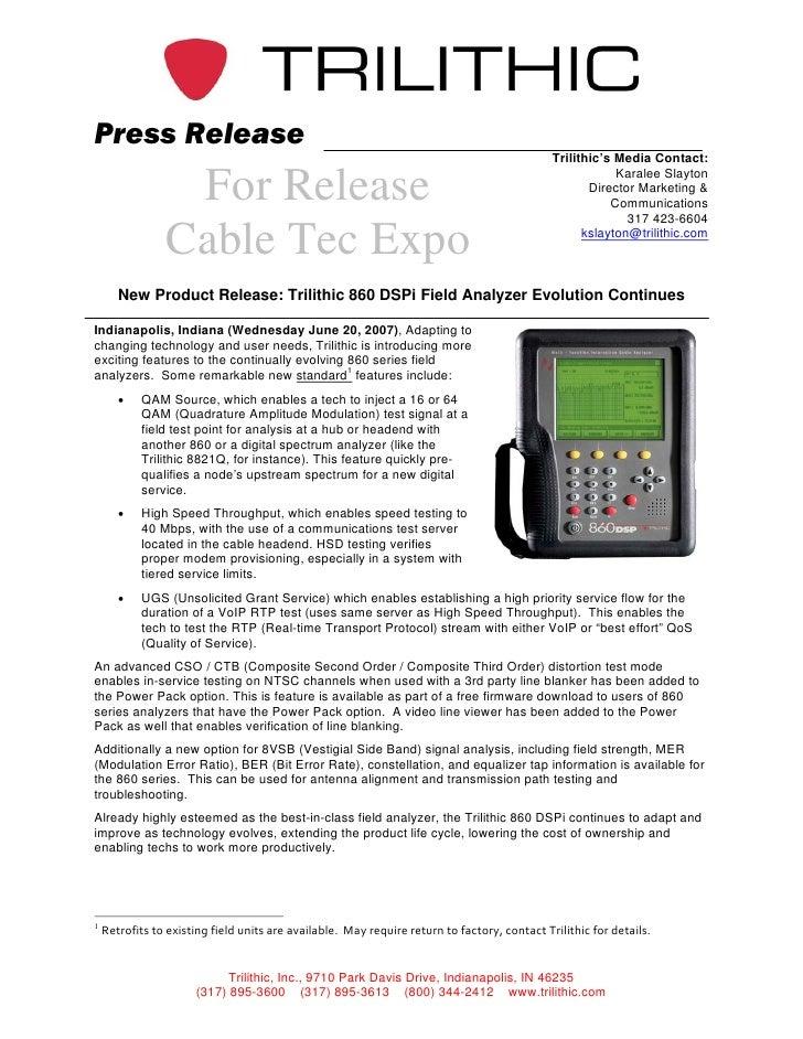 Press Release                                                                                               Trilithic's Me...