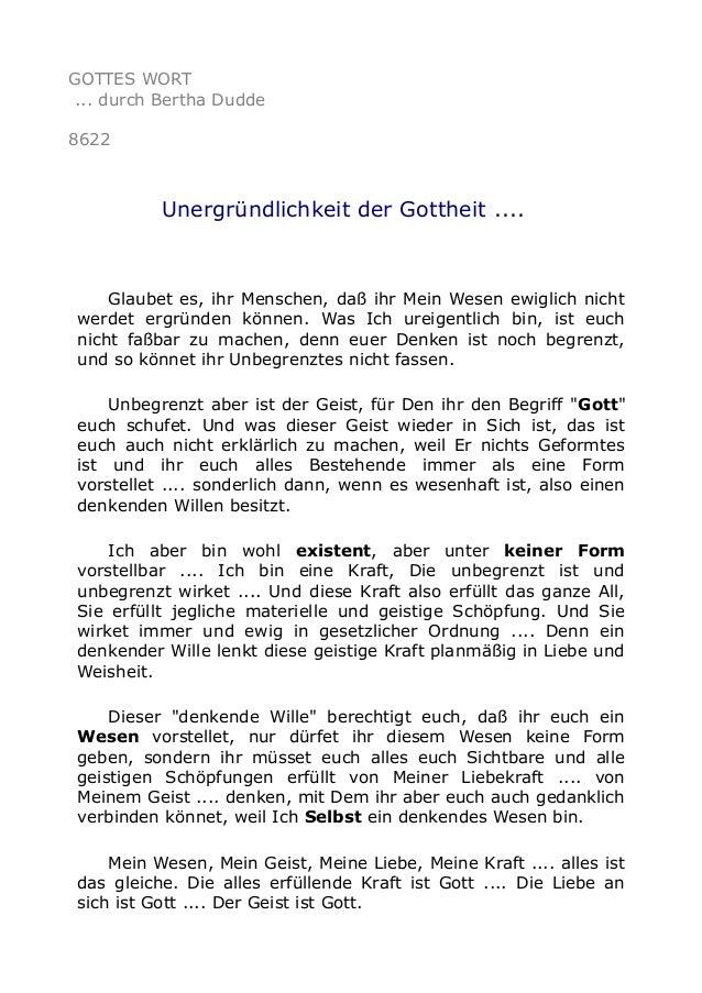 GOTTES WORT ... durch Bertha Dudde 8622 Unergründlichkeit der Gottheit .... Glaubet es, ihr Menschen, daß ihr Mein Wesen e...