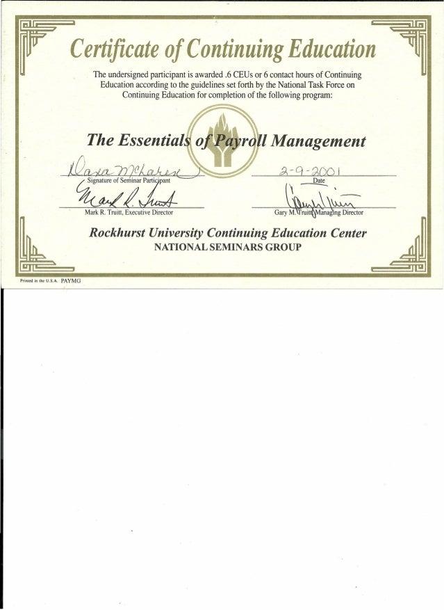 resume attach payroll management 2001