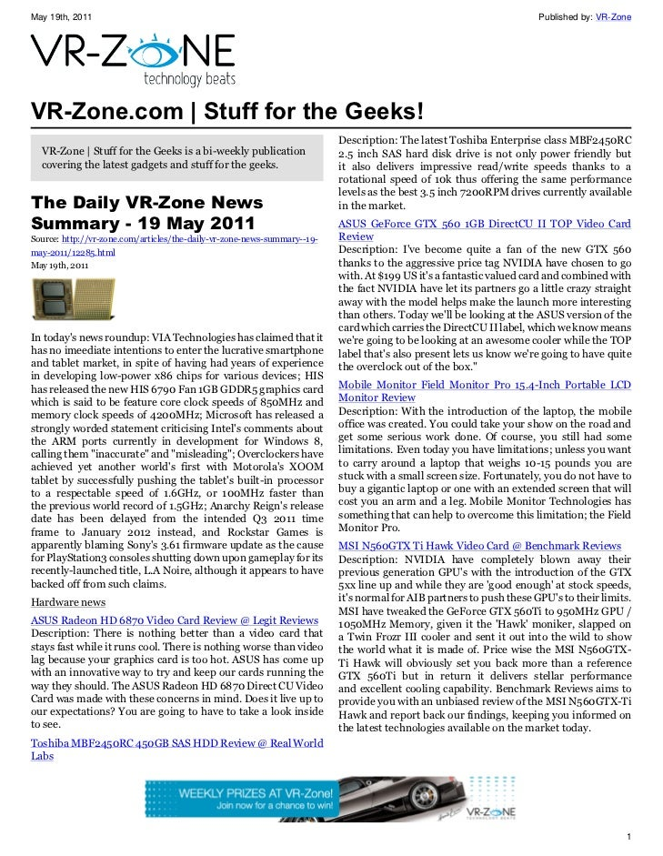 VR-Zone Technology News | Stuff for the Geeks! Issue #31