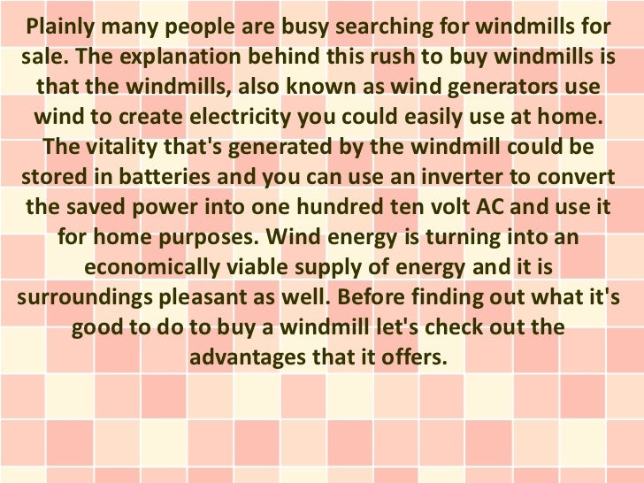 Windmills For Sale - The Best Alternative