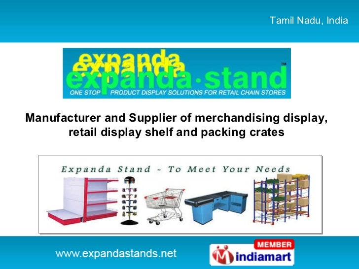 Tamil Nadu, India Manufacturer and Supplier of merchandising display, retail display shelf and packing crates