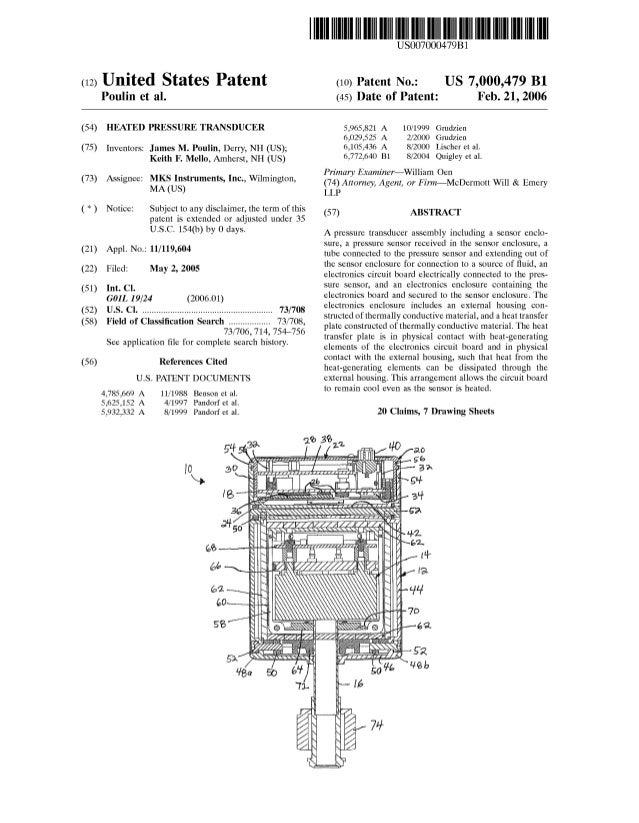 (12) United States Patent Poulin et al. (54) HEATED PRESSURE TRANSDUCER (75) Inventors: James M. Poulin, Derry, NH (US); K...