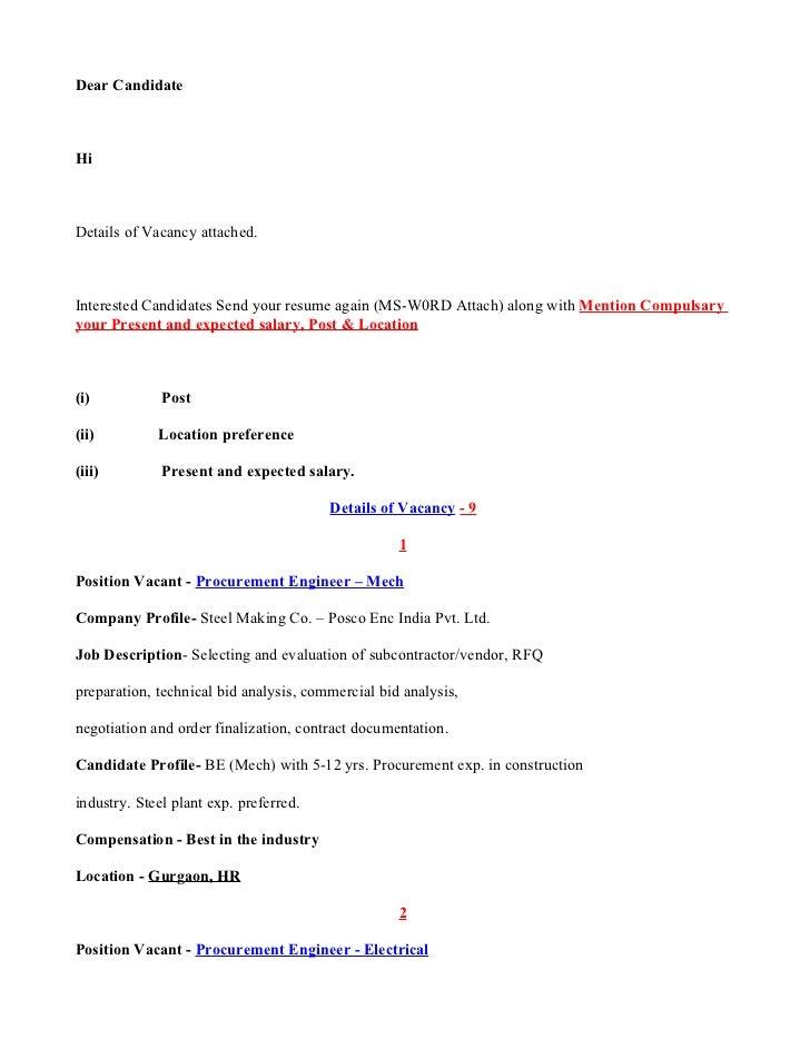 detail of vacancy posco