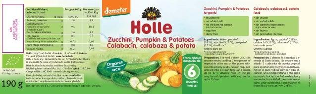 190g Zucchini, Pumpkin & Potatoes Calabacín, calabaza & patata SK-BIO-002 EU-Agriculture Per/por 100g 189/45 1,0 9,5 1,4 0...