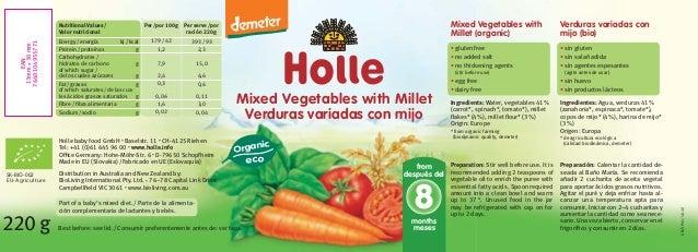 Mixed Vegetables with Millet Verduras variadas con mijo 220g Per/por 100g 179/42 1,2 7,9 2,4 0,3 0,06 1,6 0,02 Per serve/p...