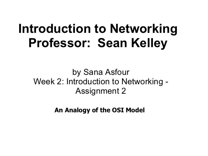 Introduction to Networking Professor: Sean Kelley An Analogy of t