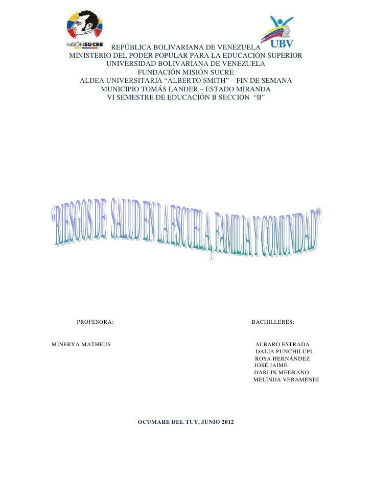 REPÚBLICA BOLIVARIANA DE VENEZUELA    MINISTERIO DEL PODER POPULAR PARA LA EDUCACIÓN SUPERIOR             UNIVERSIDAD BOLI...