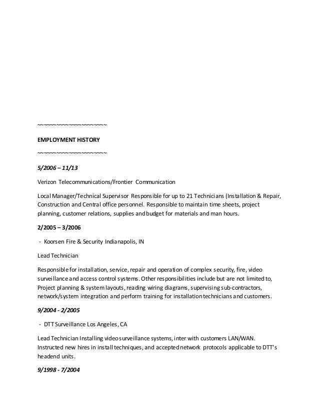 Resume for verizon