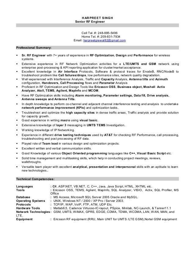 Senior rf engineer resume