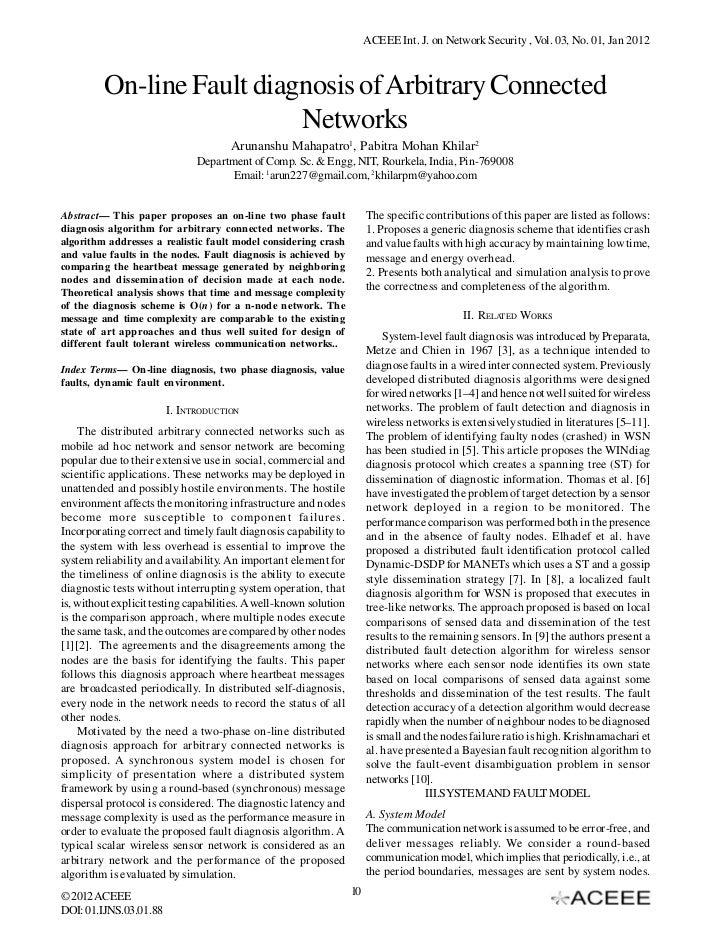 ACEEE Int. J. on Network Security , Vol. 03, No. 01, Jan 2012         On-line Fault diagnosis of Arbitrary Connected      ...