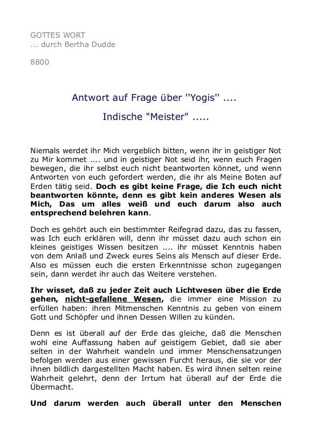 """GOTTES WORT ... durch Bertha Dudde 8800 Antwort auf Frage über ''Yogis'' .... Indische """"Meister"""" ..... Niemals werdet ihr ..."""