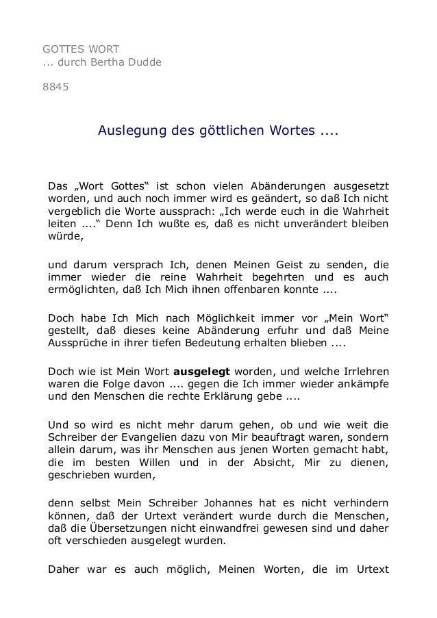 """GOTTES WORT ... durch Bertha Dudde 8845 Auslegung des göttlichen Wortes .... Das """"Wort Gottes"""" ist schon vielen Abänderung..."""