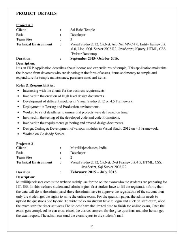 2 Experince Resume In Net