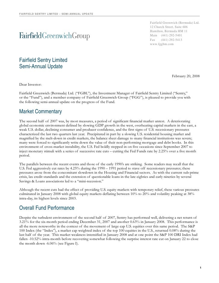 FAIRFIELD SENTRY LIMITED – SEMI-ANNUAL UPDATE                                                                             ...
