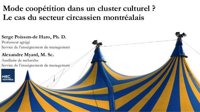 Mode coopétition dans un cluster culturel? Le cas du secteur circassien montréalais Serge Poisson-de Haro, Ph. D. Profess...