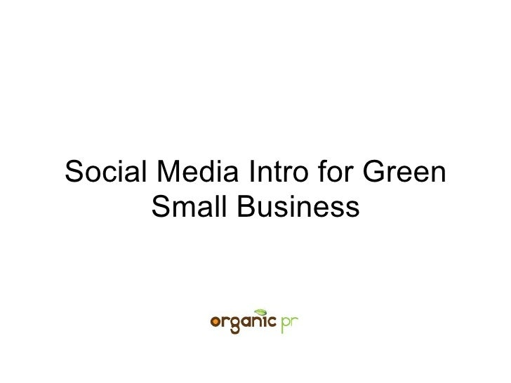Social Media Intro for Green Business