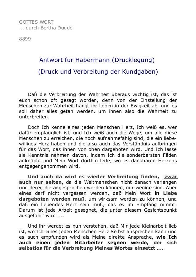 GOTTES WORT ... durch Bertha Dudde 8899 Antwort für Habermann (Drucklegung) (Druck und Verbreitung der Kundgaben) Daß die ...