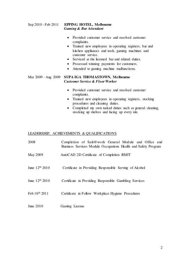 ... Bar Gaming Attendant Resume by Resume Of Daniel Jovcevski Docx ...