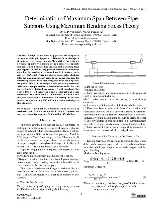 ACEE Int. J. on Transportation and Urban Development, Vol. 1, No. 2, Oct 2011  Determination of Maximum Span Between Pipe ...