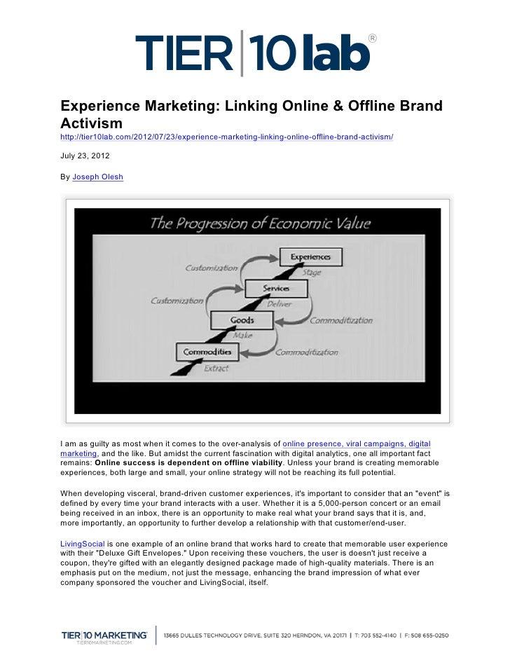 Experience Marketing: Linking Online & Offline Brand Activism