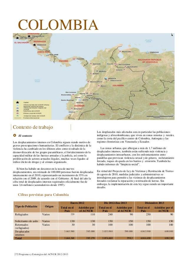 COLOMBIA Contexto de trabajo  El contexto Los desplazamientos internos en Colombia siguen siendo motivo de graves preocup...