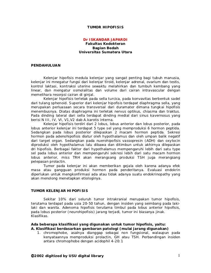 TUMOR HIPOFISIS                              Dr ISKANDAR JAPARDI                               Fakultas Kedokteran        ...