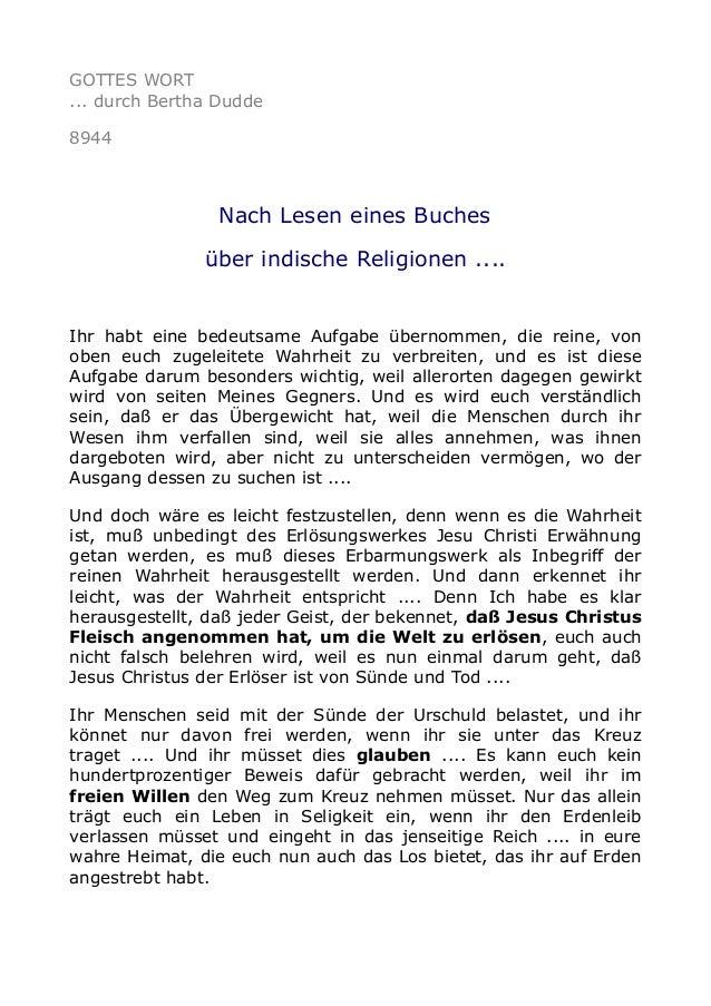 GOTTES WORT ... durch Bertha Dudde 8944 Nach Lesen eines Buches über indische Religionen .... Ihr habt eine bedeutsame Auf...
