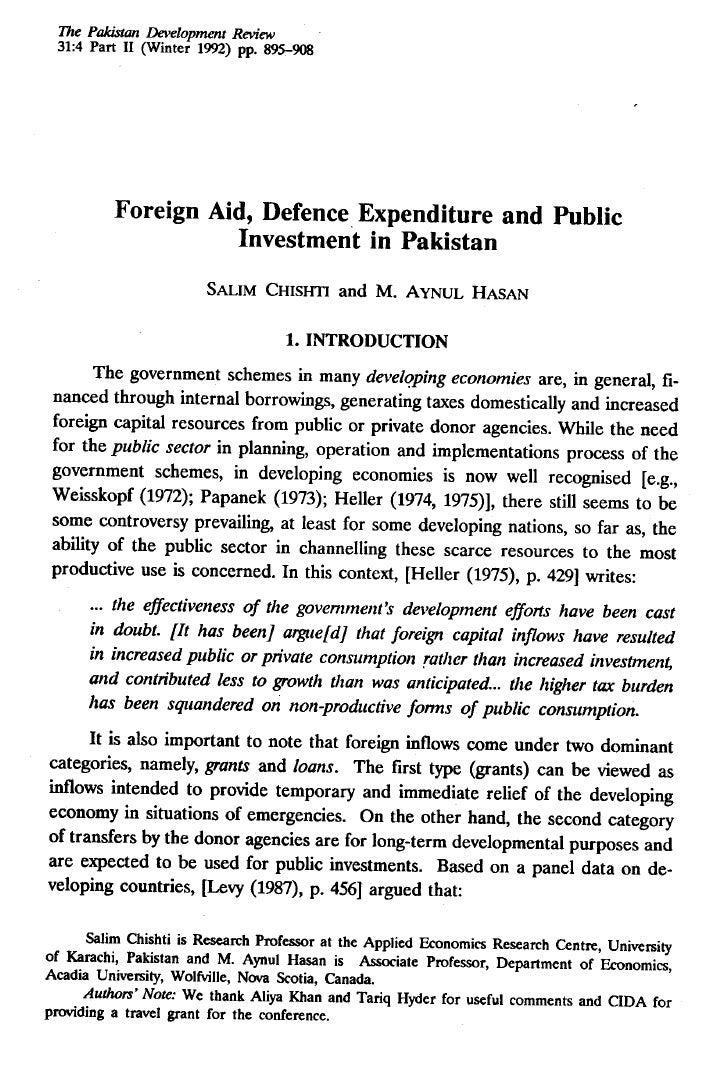 Foreign Aid, Defence Expenditure & Public Investment