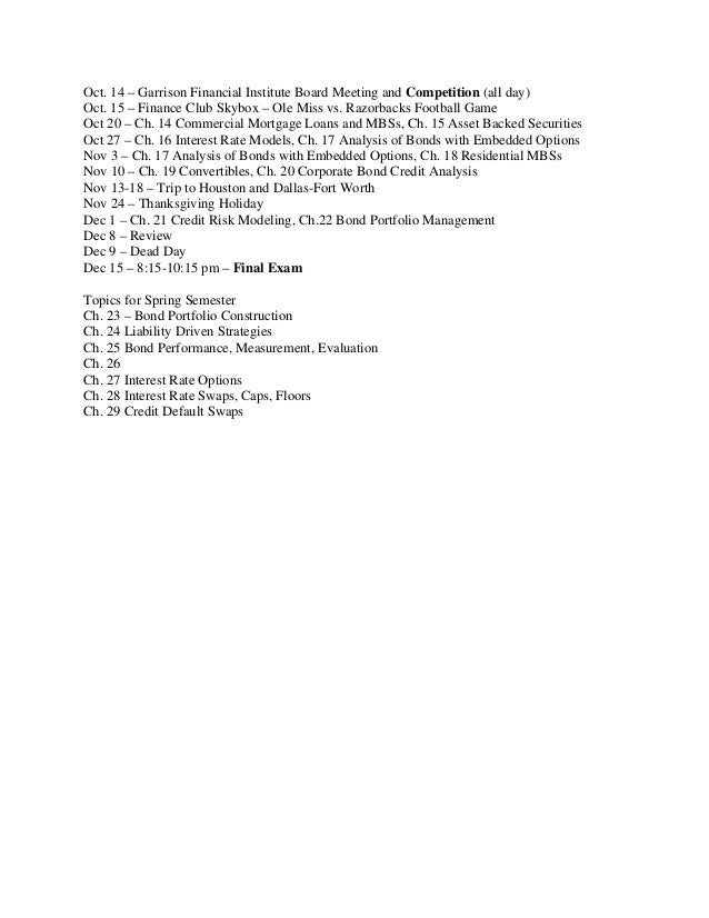 fixed income securities i syllabus