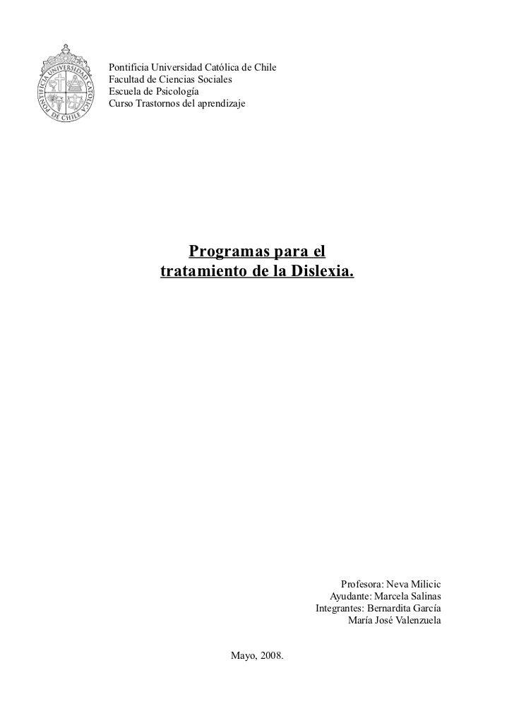 Pontificia Universidad Católica de ChileFacultad de Ciencias SocialesEscuela de PsicologíaCurso Trastornos del aprendizaje...
