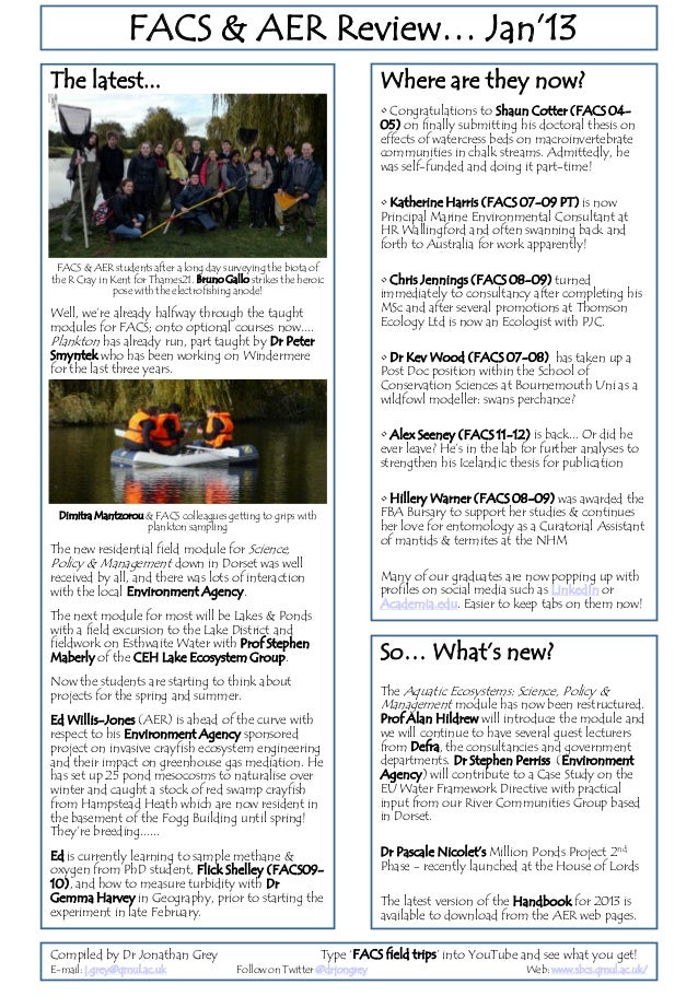 Latest news from the aquatic MSc cohort at QMUL Jan2013