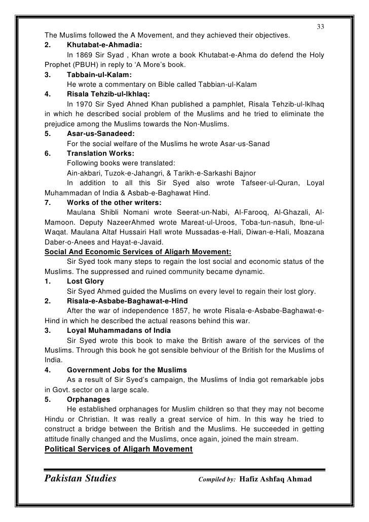 Pakistan Studies important notes for PPSC NtS CSS PMS
