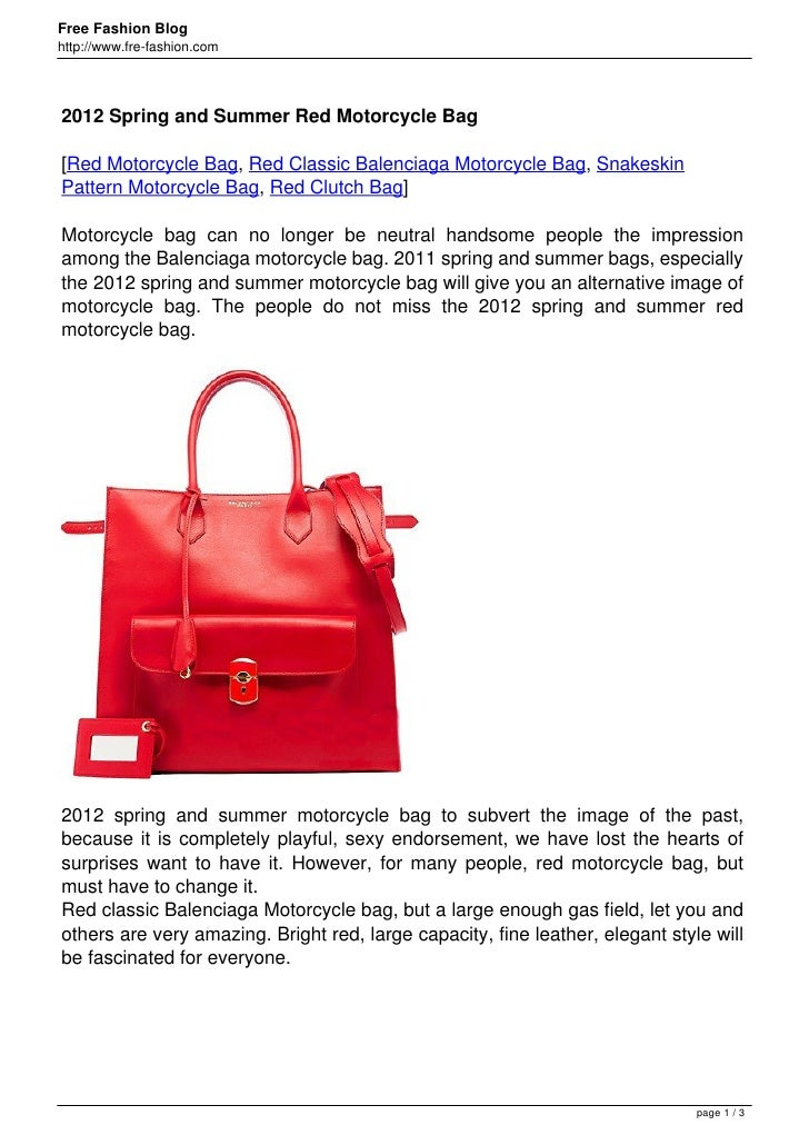 Free Fashion Bloghttp://www.fre-fashion.com2012 Spring and Summer Red Motorcycle Bag[Red Motorcycle Bag, Red Classic Balen...