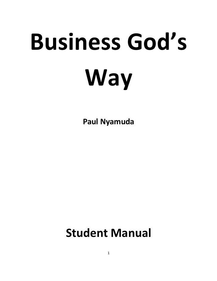Business God's     Way     Paul Nyamuda   Student Manual          1